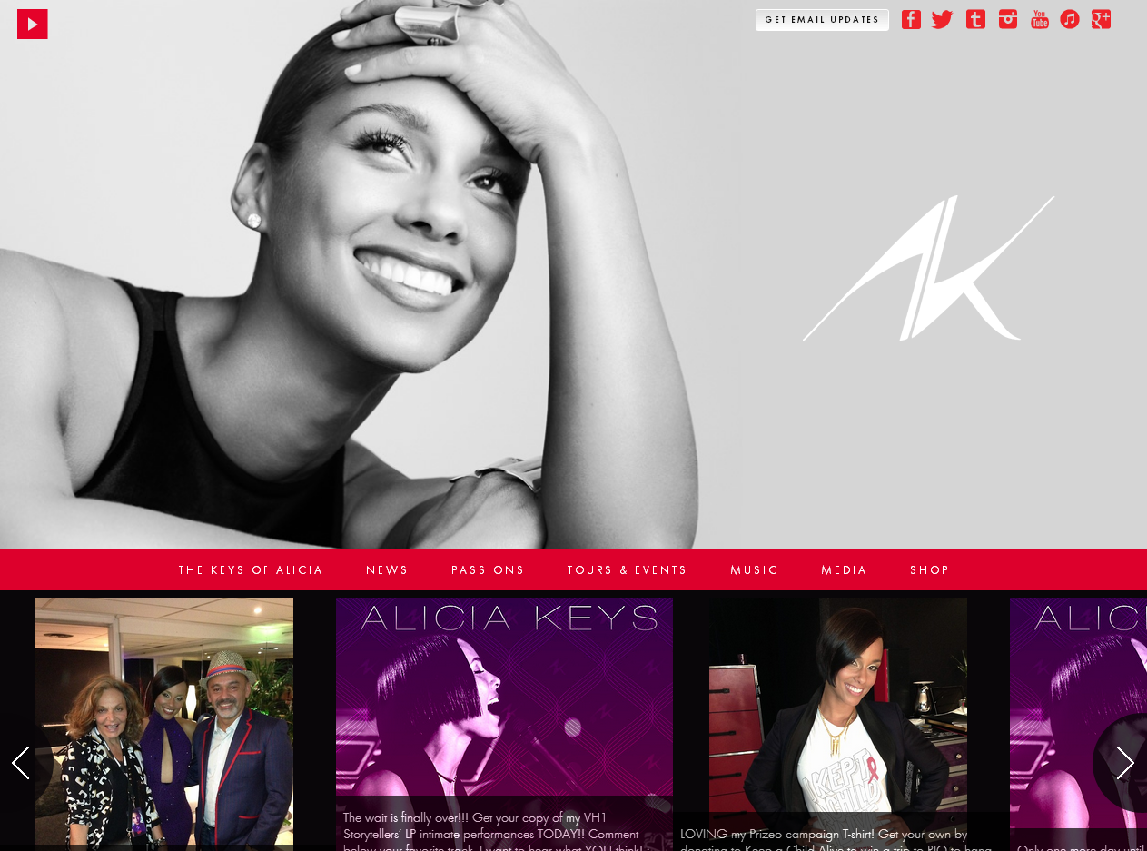 Le site officiel de Alicia Keys en WordPress