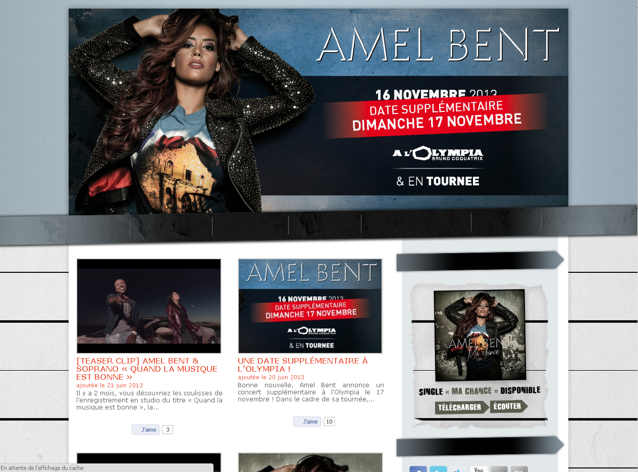 Le site officiel de Amel Bent en WordPress
