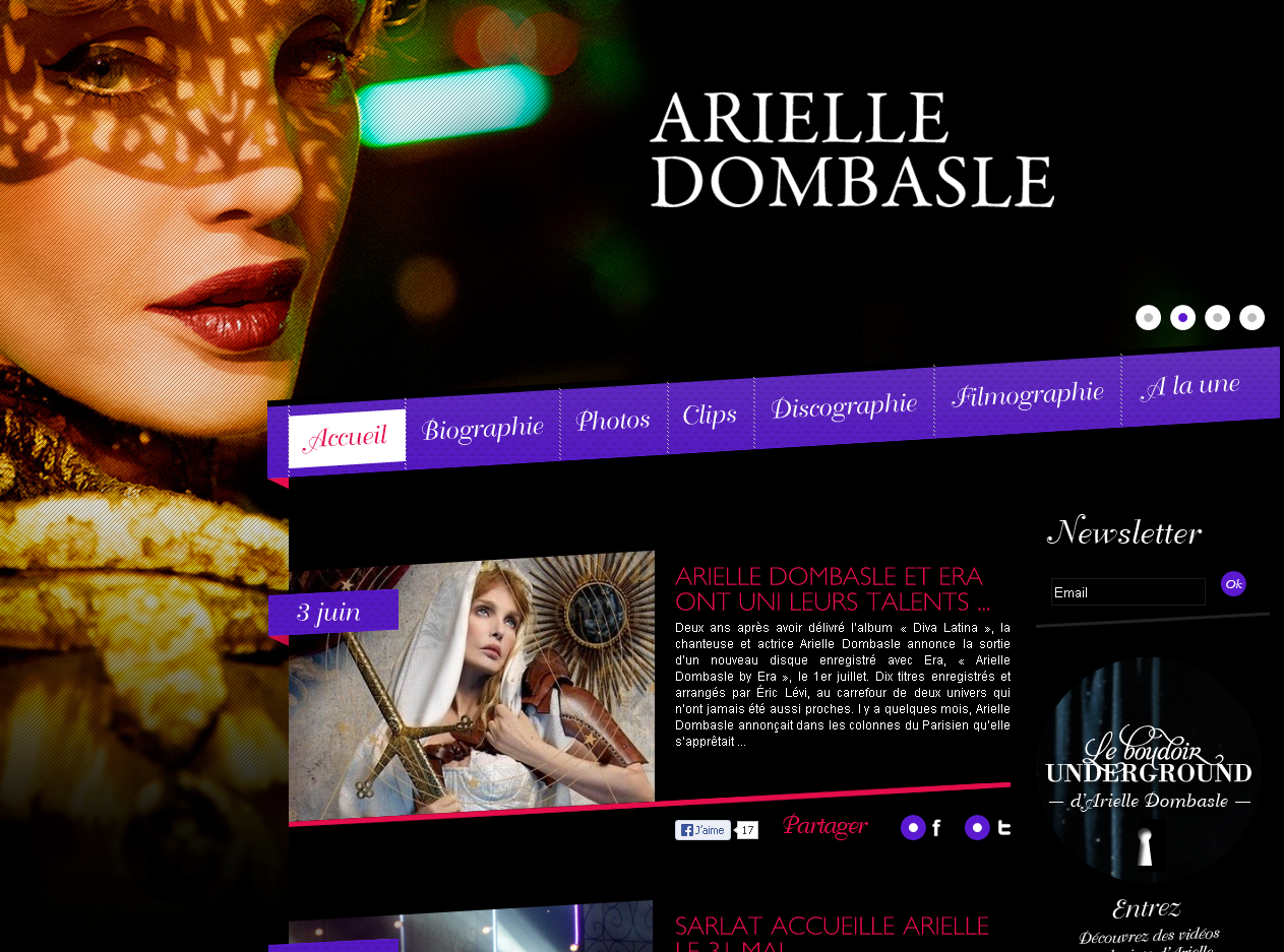 Le site officiel de Arielle Dombasle en WordPress