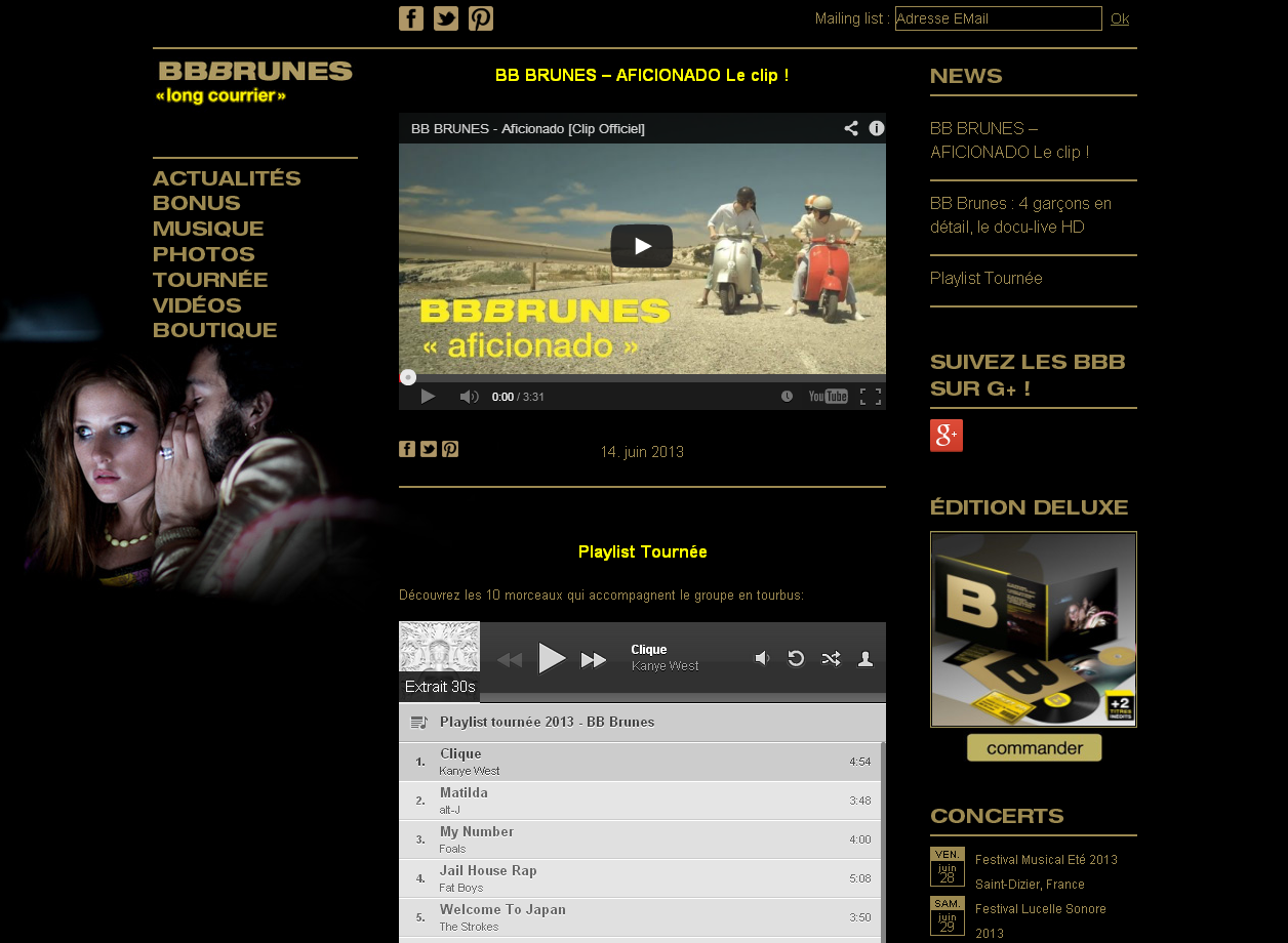 Le site officiel des BB Brunes en WordPress