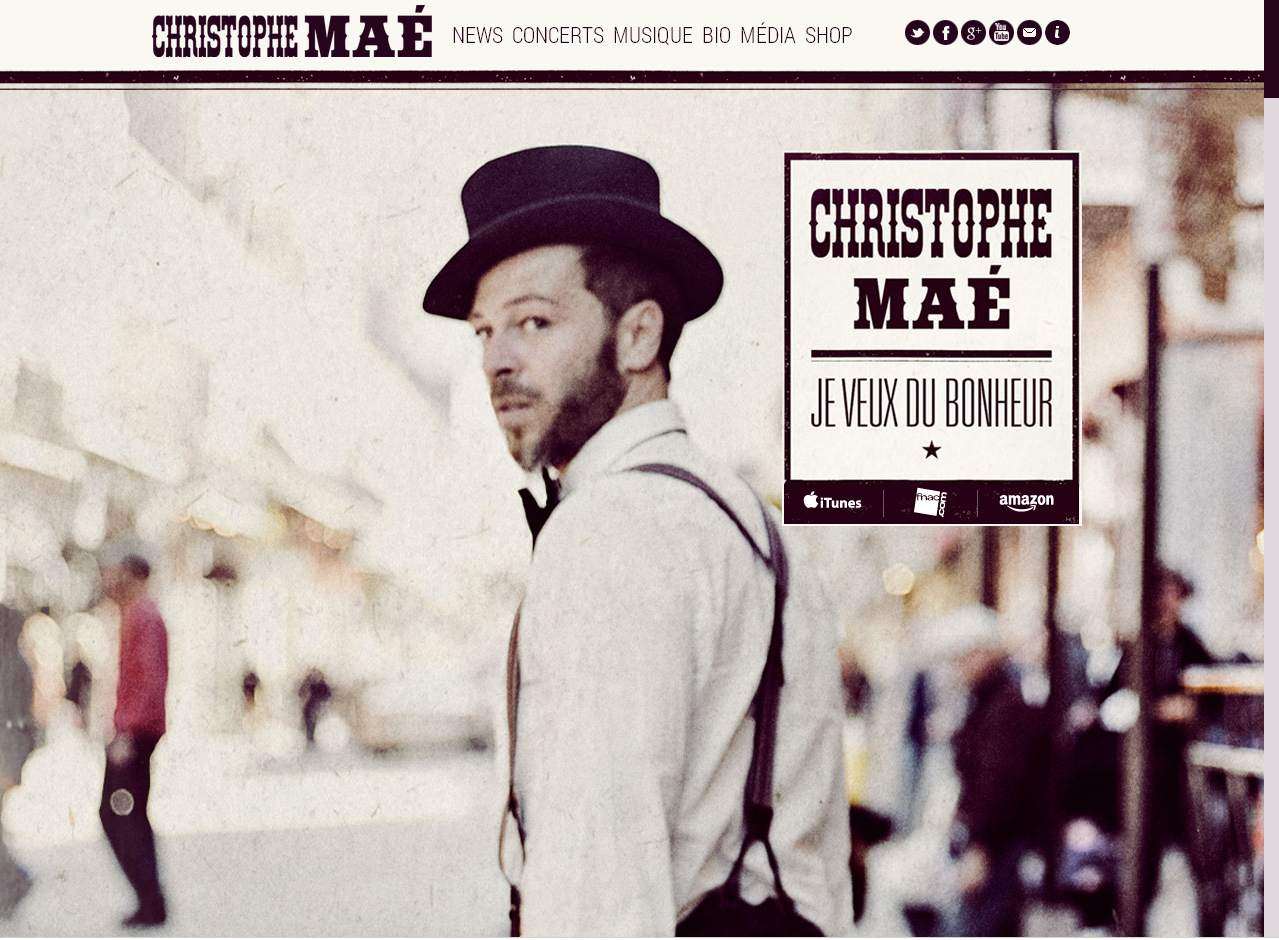 Le site officiel de Christophe Maé en WordPress