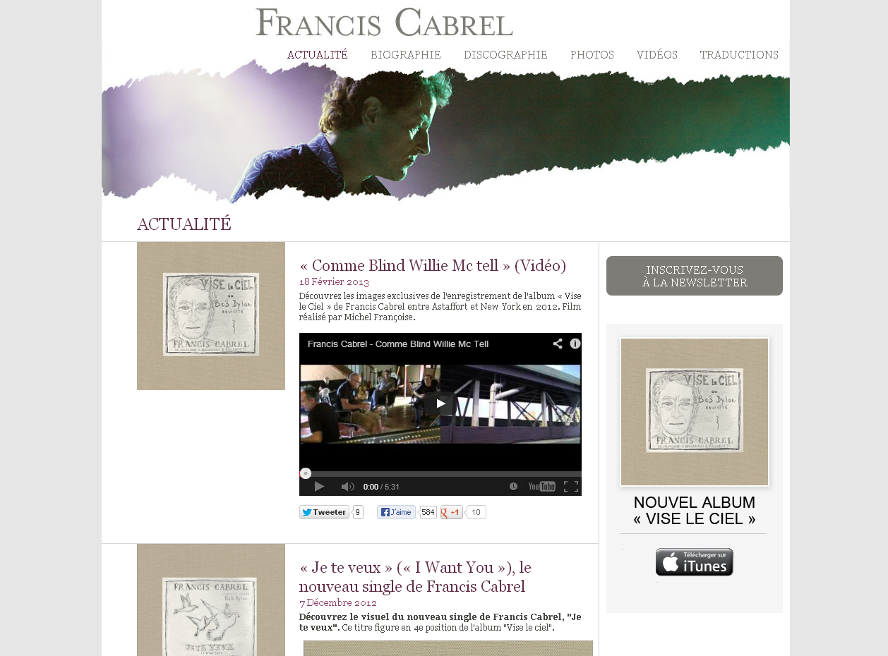 Le site officiel de Francis Cabrel en WordPress