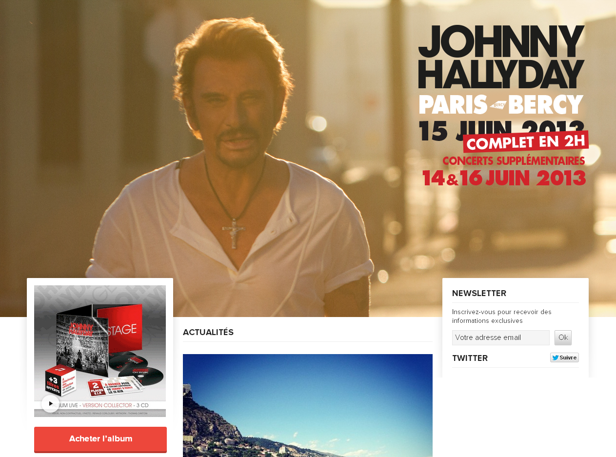 Le site officiel de Johnny Hallyday en WordPress
