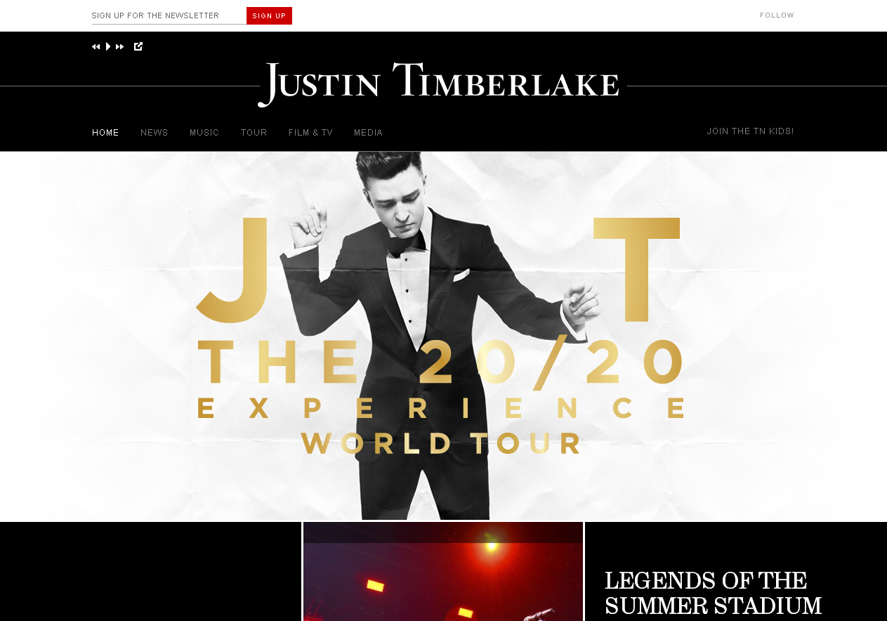Le site officiel de Justin Timberlake en WordPress