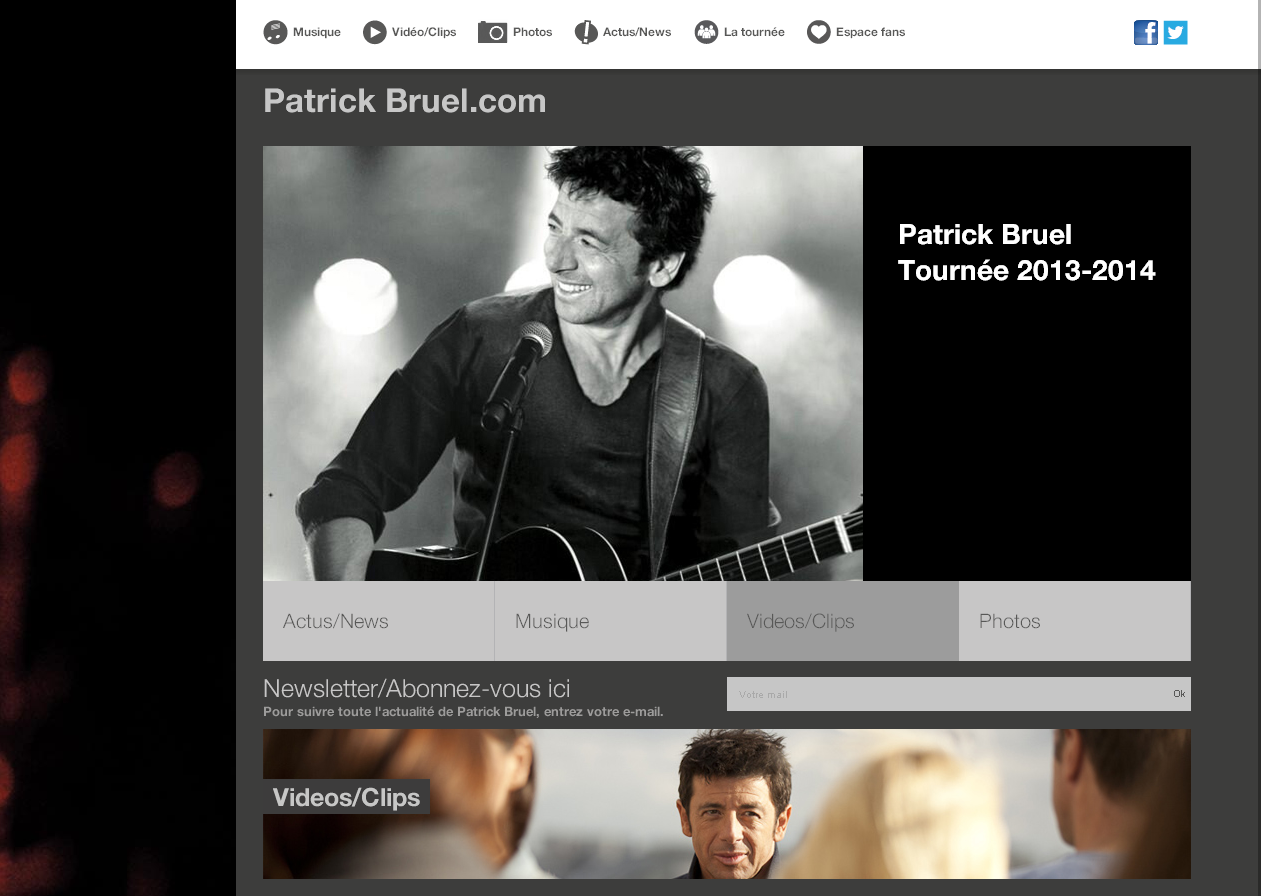 Le site officiel de Patrick Bruel en WordPress