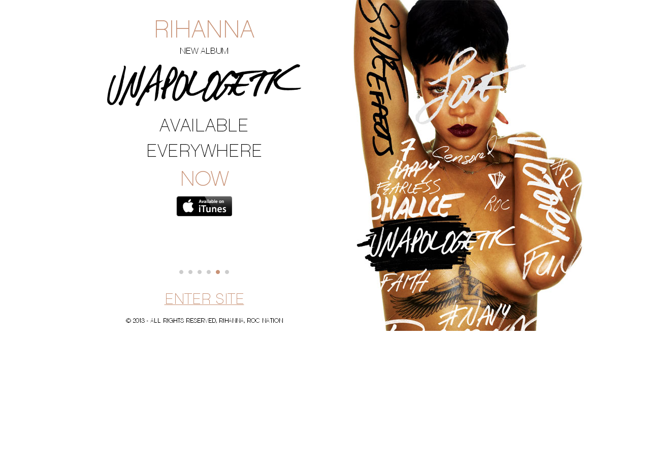 Le site officiel de Rihanna en WordPress