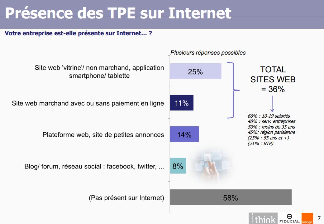 Présence des TPE sur internet