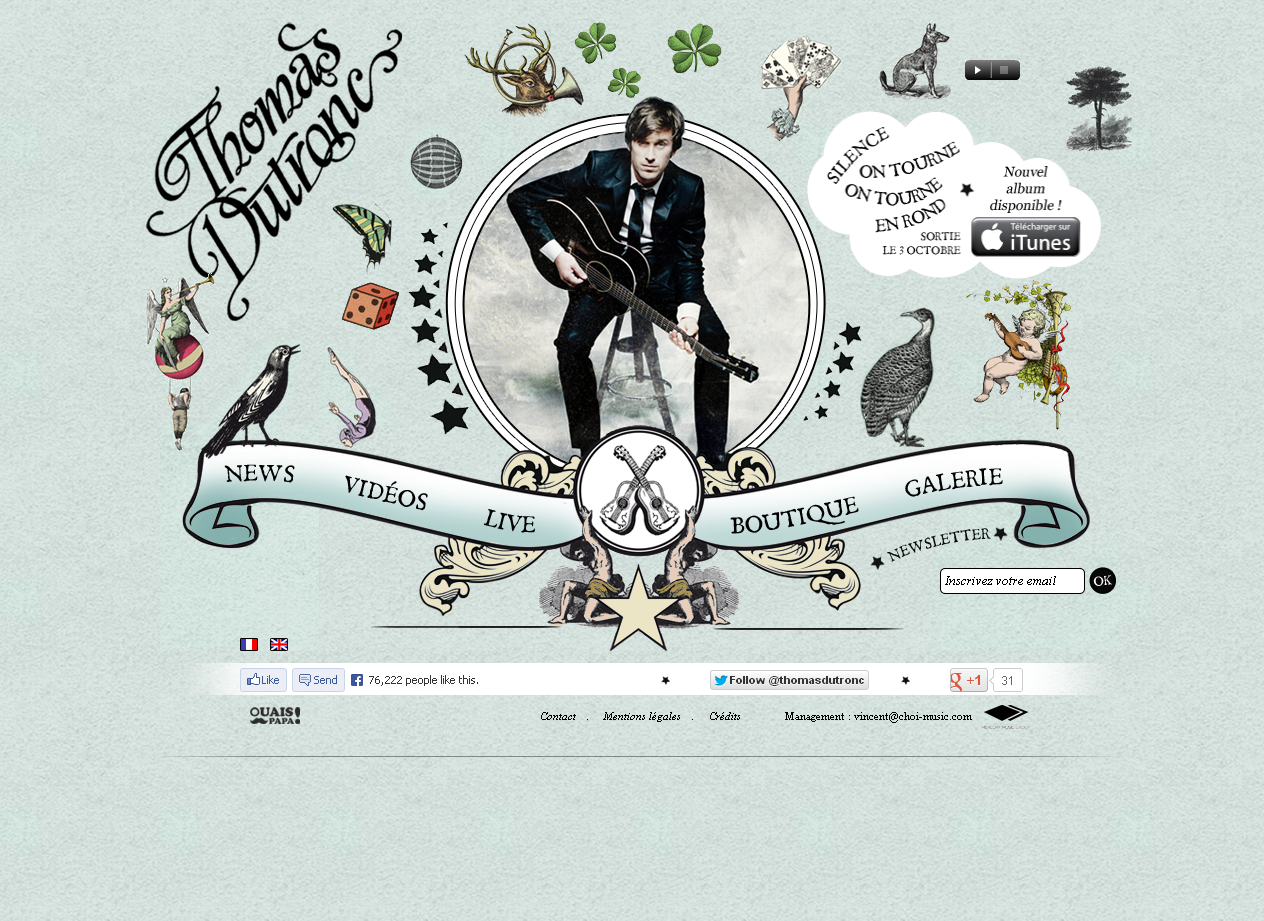 Le site officiel de Thomas Dutronc en WordPress