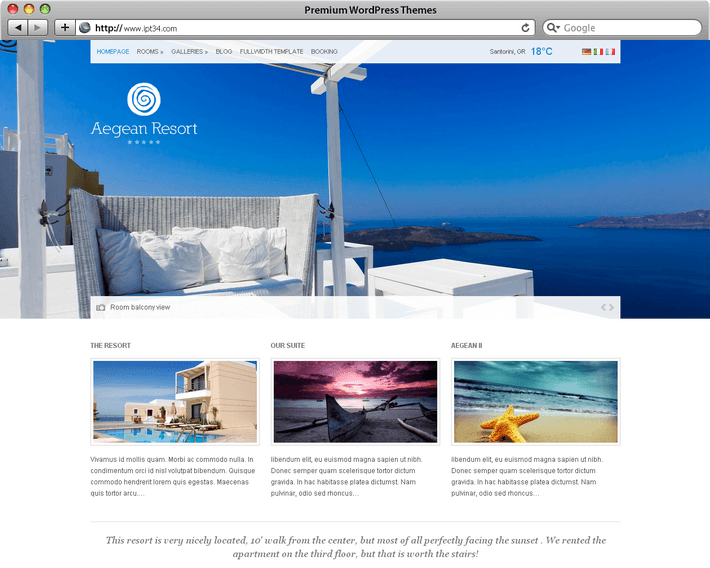 Theme WordPress Aegean Resort