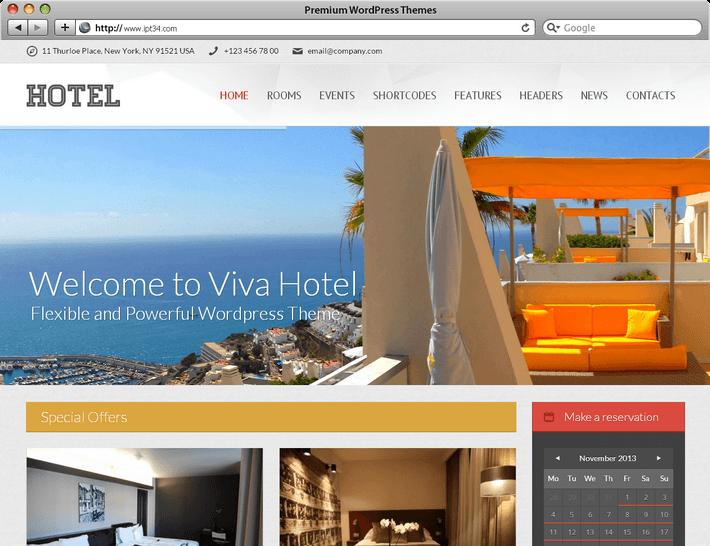 Viva Hotel meilleur thème WordPress pour hôtel